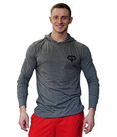 Tričko s kapucí a dlouhým rukávem SUPERHUMAN šedá černá 407a5e14de